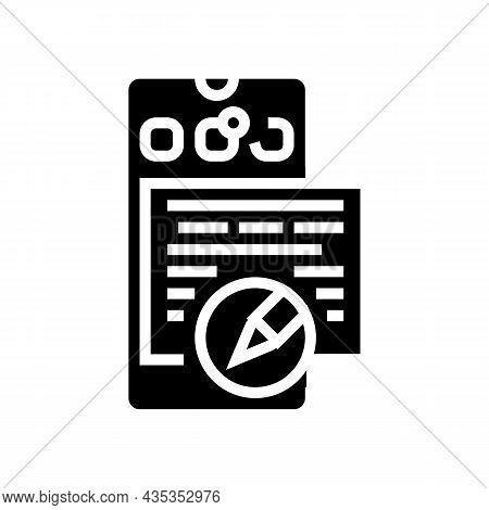Social Media Copywriting Glyph Icon Vector. Social Media Copywriting Sign. Isolated Contour Symbol B
