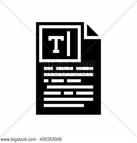 Copywriting Text Glyph Icon Vector. Copywriting Text Sign. Isolated Contour Symbol Black Illustratio