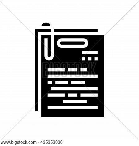 Note Paper List Glyph Icon Vector. Note Paper List Sign. Isolated Contour Symbol Black Illustration