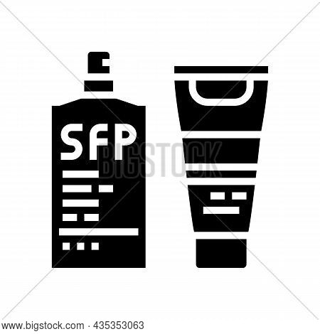 Sunscreen Protective Face And Body Oil Spf-30 Glyph Icon Vector. Sunscreen Protective Face And Body