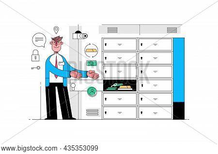 Safe Deposit Box Vector Illustration. Bank Worker Pointing At Safe Box In Bank Vault Flat Style. Eco