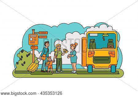 Family Hold Tickets For Bus Ride Vector Illustration. Wife, Husband And Kids Ready For Fun Trip Flat