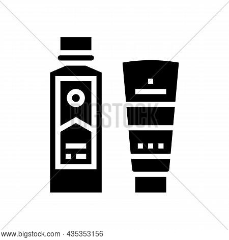 Peel And Face Scrub Gel Container And Peeling Soap Bottle Glyph Icon Vector. Peel And Face Scrub Gel