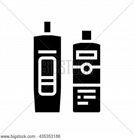 Balm And Hair Conditioner Packages Glyph Icon Vector. Balm And Hair Conditioner Packages Sign. Isola