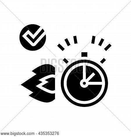 Fast Delivery Service Glyph Icon Vector. Fast Delivery Service Sign. Isolated Contour Symbol Black I
