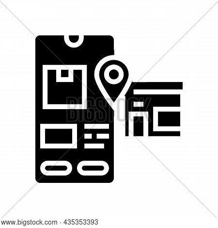 Pick Up Location Delivery Glyph Icon Vector. Pick Up Location Delivery Sign. Isolated Contour Symbol