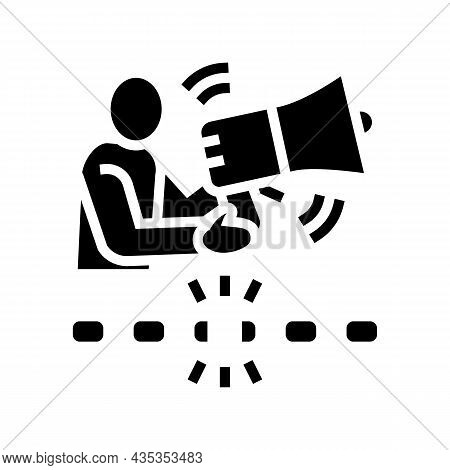Freedom Of Speech Glyph Icon Vector. Freedom Of Speech Sign. Isolated Contour Symbol Black Illustrat
