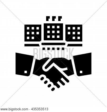 Embassy Diplomats Handshaking Glyph Icon Vector. Embassy Diplomats Handshaking Sign. Isolated Contou