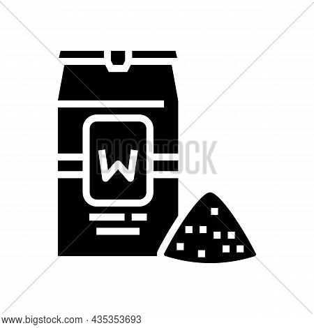 Wheat Flour Package Glyph Icon Vector. Wheat Flour Package Sign. Isolated Contour Symbol Black Illus