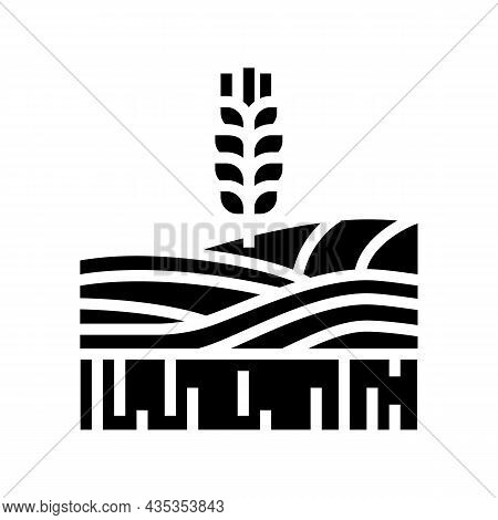 Wheat Growth Field Glyph Icon Vector. Wheat Growth Field Sign. Isolated Contour Symbol Black Illustr
