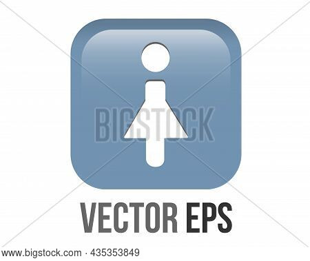Vector Gradient Blue Woman Restroom Round Corner Square Icon Button With Iconography Of Man And Woma