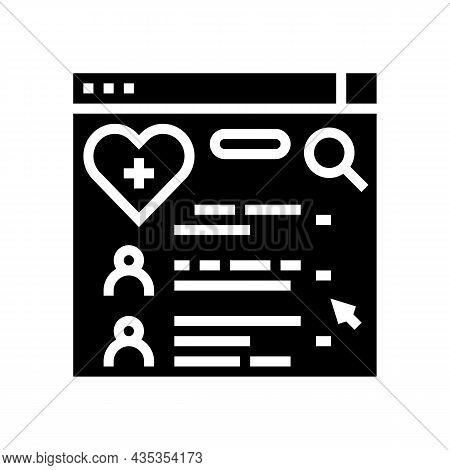 Doctor Search Online Web Site Glyph Icon Vector. Doctor Search Online Web Site Sign. Isolated Contou