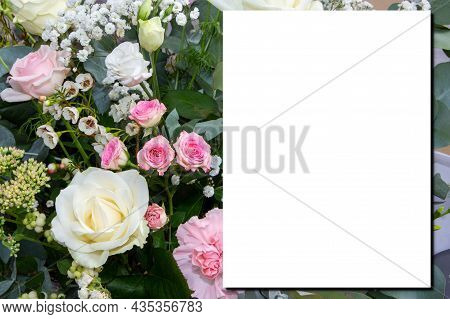 Mock-up Wedding Pastel Flowers Bouquet Bride Pink Roses With White Paper Empty Space For Marriage Te