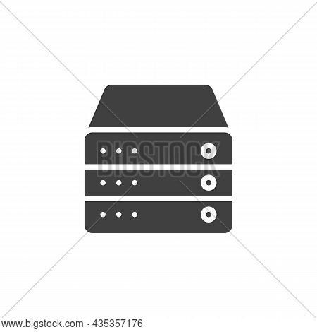 Database Server Vector Icon. Filled Flat Sign For Mobile Concept And Web Design. Computer Server Gly