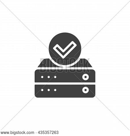 Data Check Vector Icon. Filled Flat Sign For Mobile Concept And Web Design. Database With Check Mark