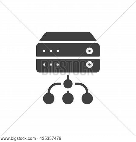 Database Server Connection Vector Icon. Filled Flat Sign For Mobile Concept And Web Design. Data Ser