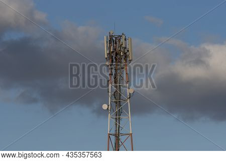 Telecommunication Tower Of 4g And 5g Cellular. Macro Base Station. 5g Radio Network Telecommunicatio