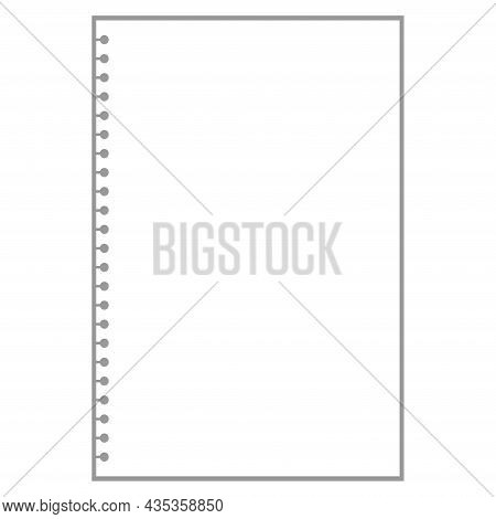 Blank White Notepad Sheet For Notes With Ring Holes.
