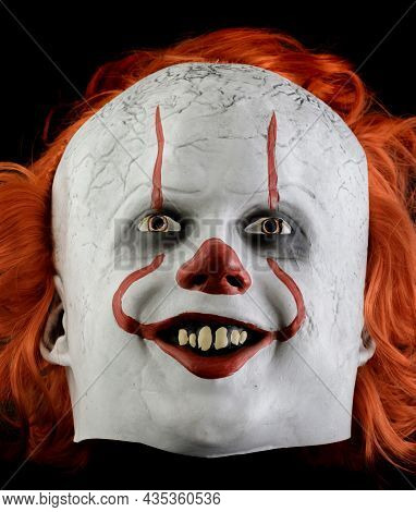 Palo Alto, California - October 4, 2021: Pennywise - It Chapter Two - Mask Isolated On Black Backgro