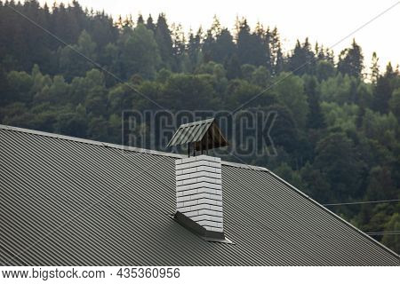 Roof Covered With Metal Tiles, Roofing, Wooden House
