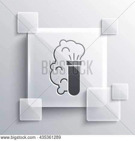 Grey Chemical Experiment, Explosion In The Flask Icon Isolated On Grey Background. Chemical Explosio