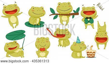 Cute Frog Activities Set. Green Funny Amphibian Animal Character Smiling, Jumping, Croaking, Catchin