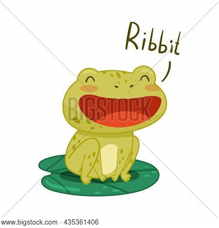 Cute Frog Sitting On Lotus Leaf In Pond And Croaking. Green Funny Amphibian Toad Character Cartoon V