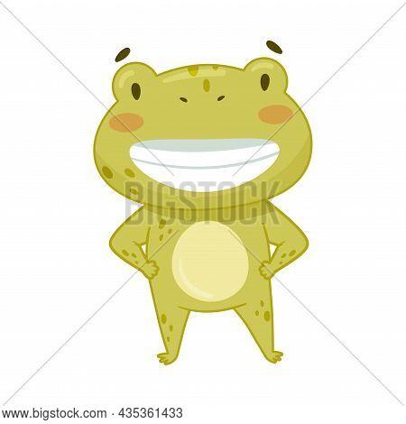Cute Happy Frog. Green Funny Amphibian Toad Character Cartoon Vector Illustration