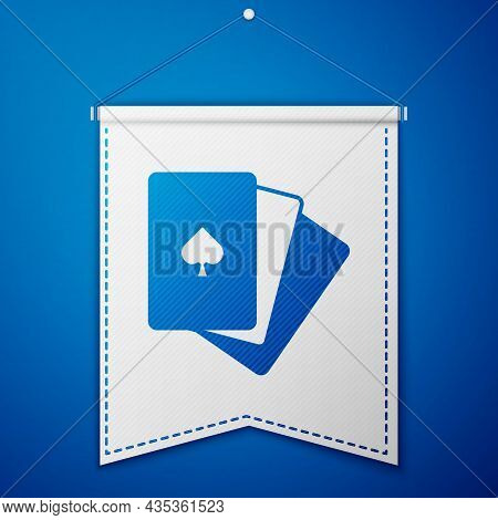 Blue Deck Of Playing Cards Icon Isolated On Blue Background. Casino Gambling. White Pennant Template