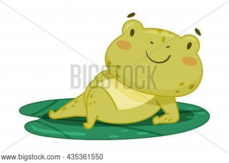 Cute Frog Lying On Lotus Leaf In Pond. Green Funny Amphibian Toad Character Cartoon Vector Illustrat