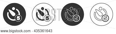 Black Camera Timer Icon Isolated On White Background. Photo Exposure. Stopwatch Timer 5 Seconds. Cir