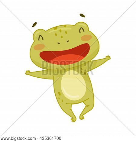 Cute Smiling Frog Happily Jumping. Green Funny Amphibian Toad Character Cartoon Vector Illustration