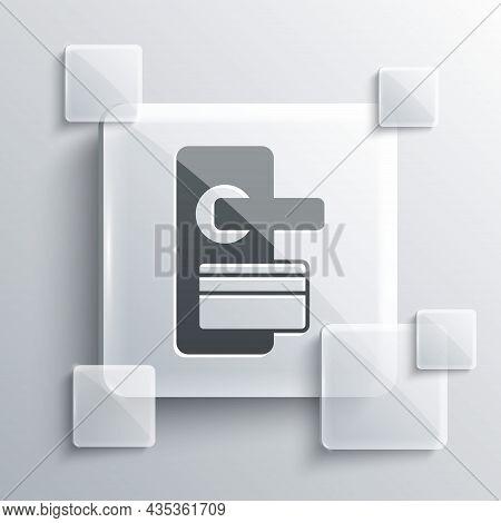Grey Digital Door Lock With Wireless Technology For Unlock Icon Isolated On Grey Background. Door Ha
