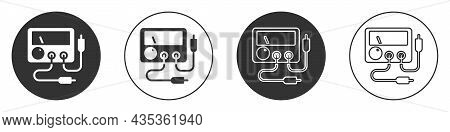 Black Ampere Meter, Multimeter, Voltmeter Icon Isolated On White Background. Instruments For Measure
