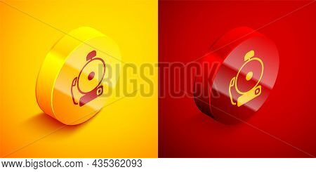 Isometric Ringing Alarm Bell Icon Isolated On Orange And Red Background. Alarm Symbol, Service Bell,