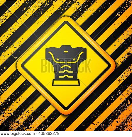 Black Bodybuilder Showing His Muscles Icon Isolated On Yellow Background. Fit Fitness Strength Healt