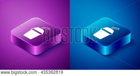 Isometric Paper Glass With Drinking Straw And Water Icon Isolated On Blue And Purple Background. Sod