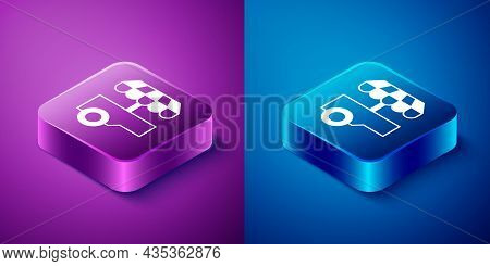 Isometric Fast Street Food Cart With Awning Icon Isolated On Blue And Purple Background. Urban Kiosk