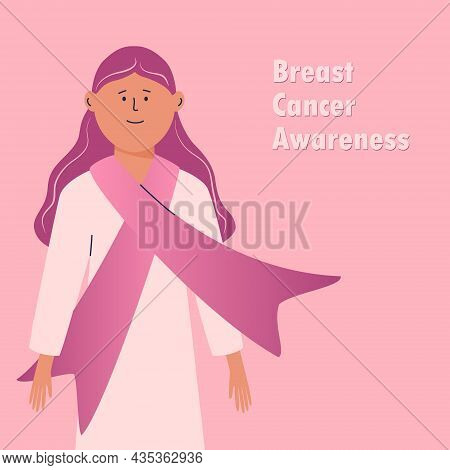 Breast Cancer Awareness Month. Girl With A Pink Ribbon Scarf On Her Chest. Abstract Cartoon Female C
