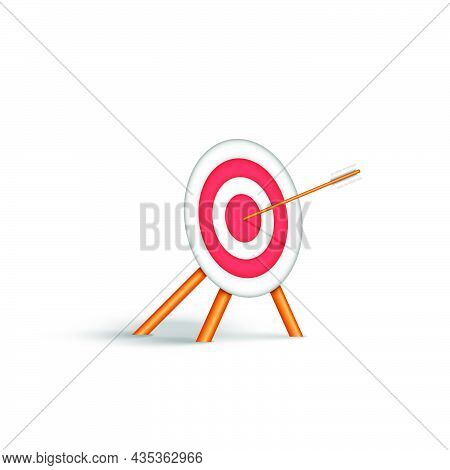 Achievement Of Set Goals In Life Concept, 3d Target For Archery With An Arrow Straight To The Bullse