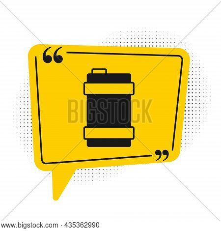 Black Metal Beer Keg Icon Isolated On White Background. Yellow Speech Bubble Symbol. Vector
