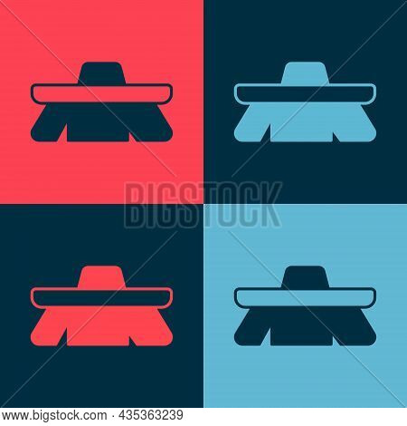 Pop Art Brush For Cleaning Icon Isolated On Color Background. Cleaning Service Concept. Vector