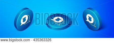 Isometric Police Badge Icon Isolated On Blue Background. Sheriff Badge Sign. Blue Circle Button. Vec