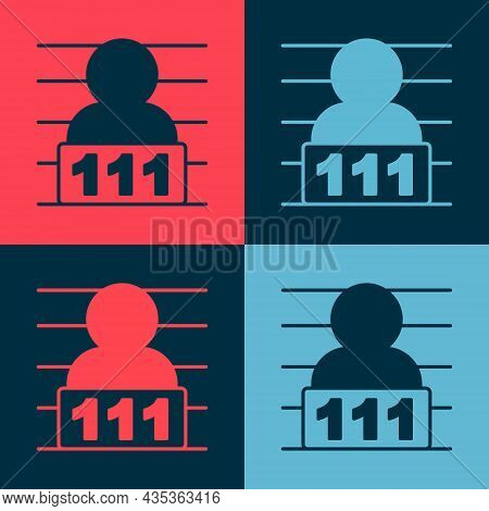 Pop Art Suspect Criminal Icon Isolated On Color Background. The Criminal In Prison, Suspected Near T