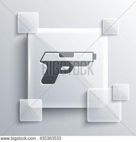 Grey Pistol Or Gun Icon Isolated On Grey Background. Police Or Military Handgun. Small Firearm. Squa
