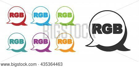 Black Speech Bubble With Rgb And Cmyk Color Mixing Icon Isolated On White Background. Set Icons Colo