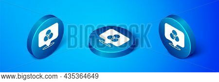 Isometric Rgb And Cmyk Color Mixing Icon Isolated On Blue Background. Blue Circle Button. Vector
