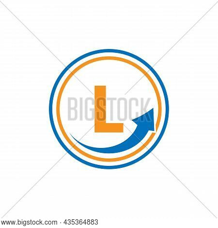 Finance Logo With Growth Arrow On L Letter. Letter L Marketing And Financial Business Logo Template