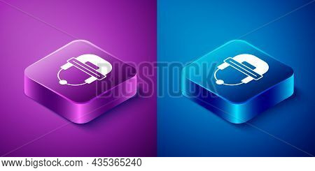 Isometric Hockey Helmet Icon Isolated On Blue And Purple Background. Square Button. Vector