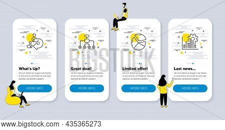 Vector Set Of Business Icons Related To Pie Chart, Delegate Work And Restructuring Icons. Ui Phone A